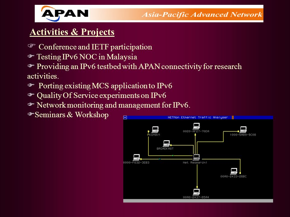 Activities & Projects Conference and IETF participation Testing IPv6 NOC in Malaysia Providing an IPv6 testbed with APAN connectivity for research act