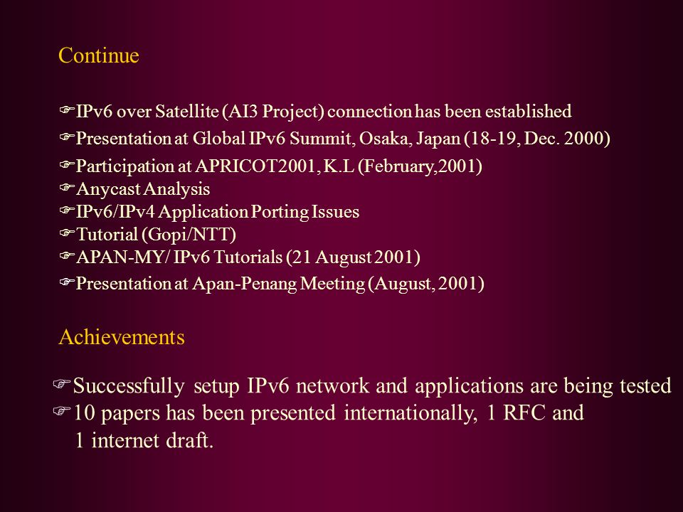 Continue IPv6 over Satellite (AI3 Project) connection has been established Presentation at Global IPv6 Summit, Osaka, Japan (18-19, Dec. 2000) Partici