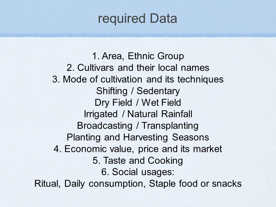 required Data 1. Area, Ethnic Group 2. Cultivars and their local names 3.