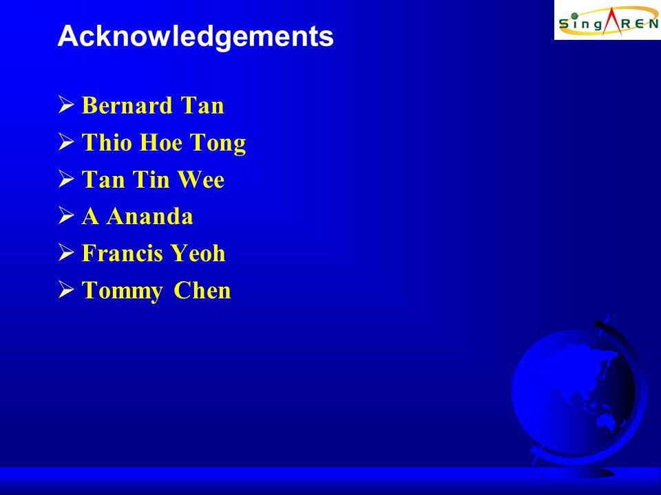 Acknowledgements Bernard Tan Thio Hoe Tong Tan Tin Wee A Ananda Francis Yeoh Tommy Chen