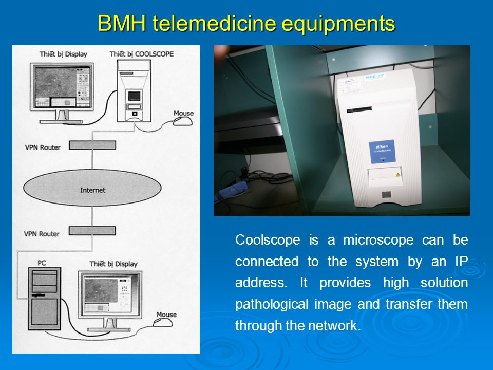 Coolscope is a microscope can be connected to the system by an IP address. It provides high solution pathological image and transfer them through the