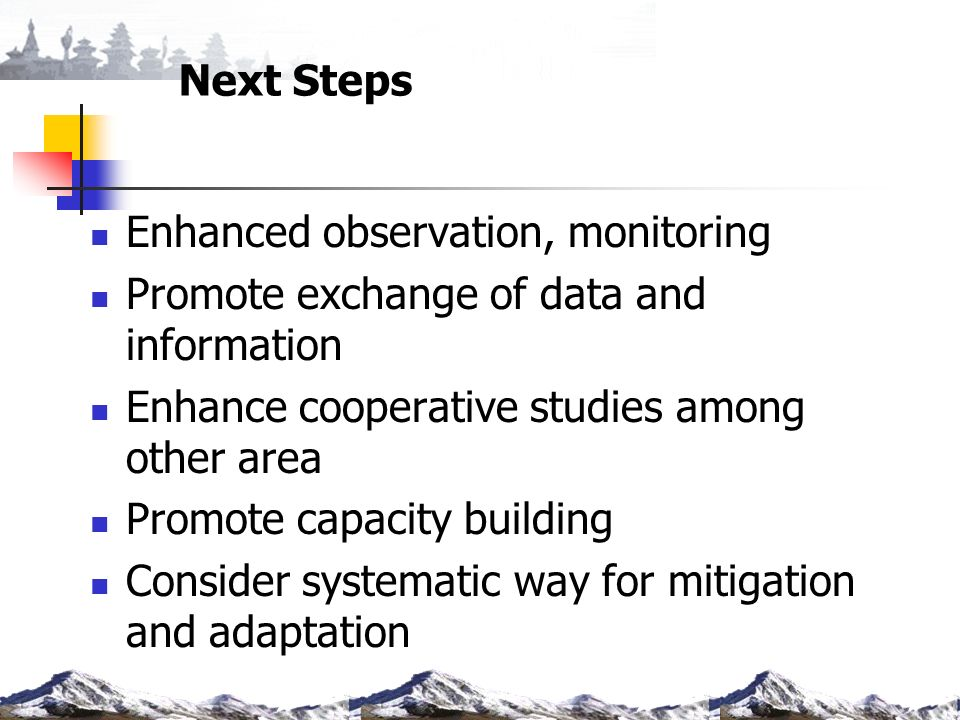 Next Steps Enhanced observation, monitoring Promote exchange of data and information Enhance cooperative studies among other area Promote capacity bui