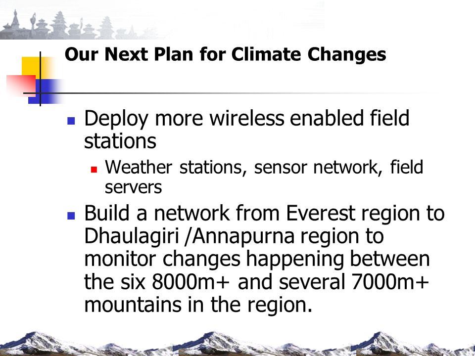 Our Next Plan for Climate Changes Deploy more wireless enabled field stations Weather stations, sensor network, field servers Build a network from Everest region to Dhaulagiri /Annapurna region to monitor changes happening between the six 8000m+ and several 7000m+ mountains in the region.