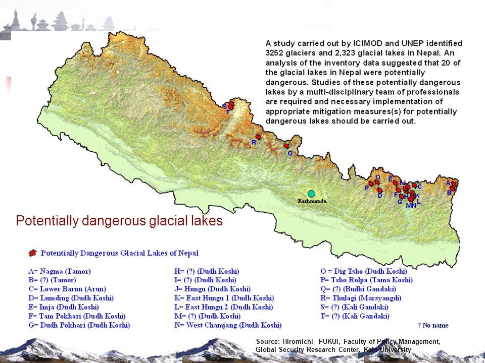 Glaciers and glacial lakes in Nepal Glacial lakes - 2323 Koshi Basin Mahakali Basin Karnali Basin Gandaki Basin
