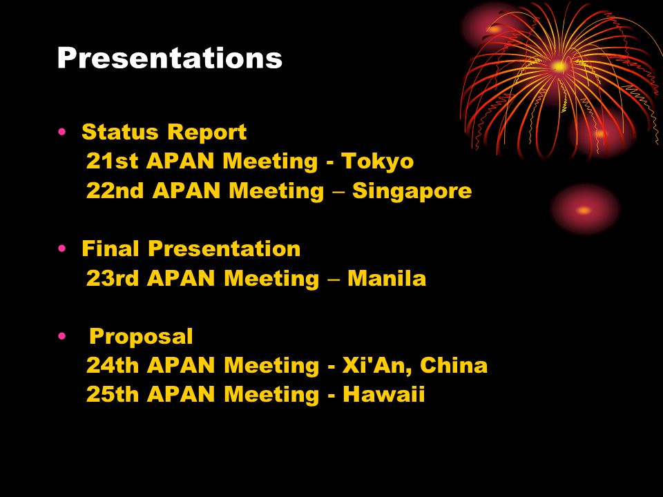 Presentations Status Report 21st APAN Meeting - Tokyo 22nd APAN Meeting – Singapore Final Presentation 23rd APAN Meeting – Manila Proposal 24th APAN Meeting - Xi An, China 25th APAN Meeting - Hawaii