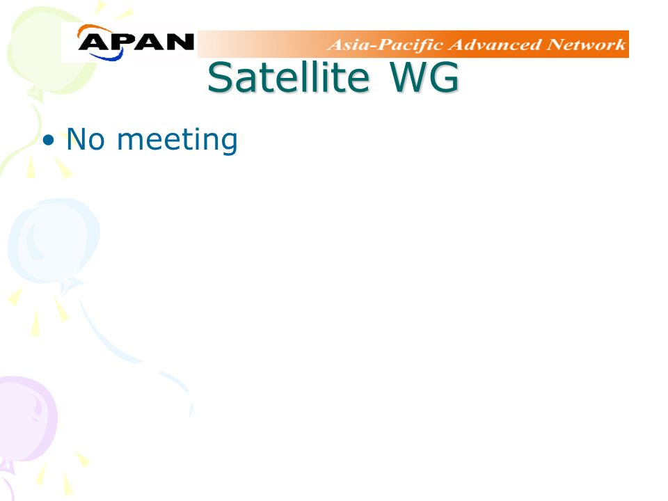 Satellite WG No meeting