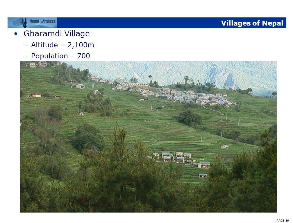 PAGE 18 Villages of Nepal Shikha Village –Altitude - 2,145m –Population – 1,200