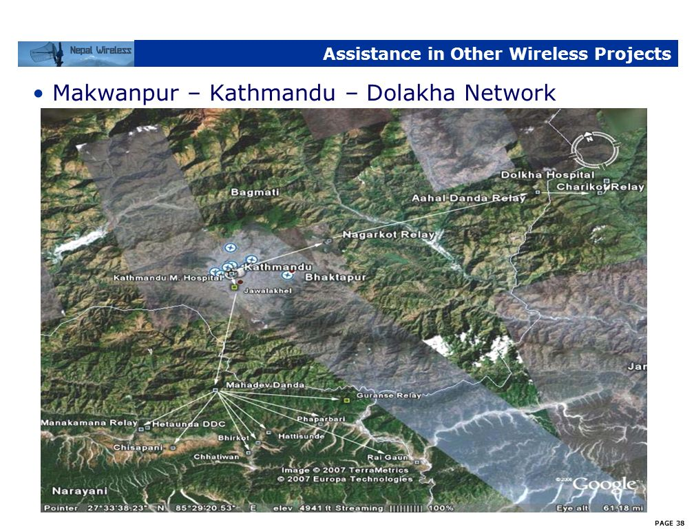 PAGE 37 Assistance in Other Wireless Projects Project helped other wireless projects in different parts of Nepal –Makawanpur Network financially suppo