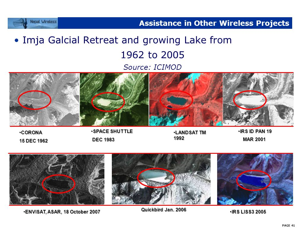 PAGE 40 Assistance in Other Wireless Projects Imja Galcial Lake Monitoring Network from Imja Lake to Namche Bazaar for Keio University Japan