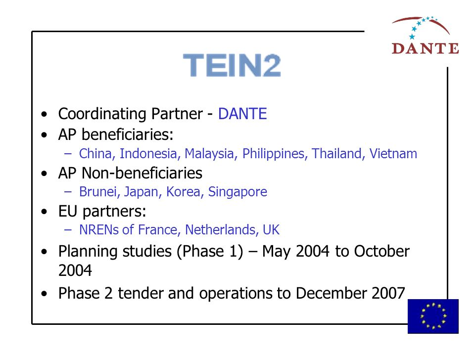 Coordinating Partner - DANTE AP beneficiaries: –China, Indonesia, Malaysia, Philippines, Thailand, Vietnam AP Non-beneficiaries –Brunei, Japan, Korea, Singapore EU partners: –NRENs of France, Netherlands, UK Planning studies (Phase 1) – May 2004 to October 2004 Phase 2 tender and operations to December 2007