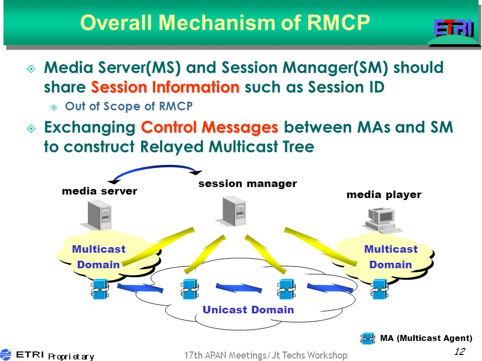 12 17th APAN Meetings/Jt Techs Workshop Overall Mechanism of RMCP Session Information Media Server(MS) and Session Manager(SM) should share Session Information such as Session ID Out of Scope of RMCP Control Messages Exchanging Control Messages between MAs and SM to construct Relayed Multicast Tree media server media player Multicast Domain Unicast Domain session manager Multicast Domain MA (Multicast Agent)