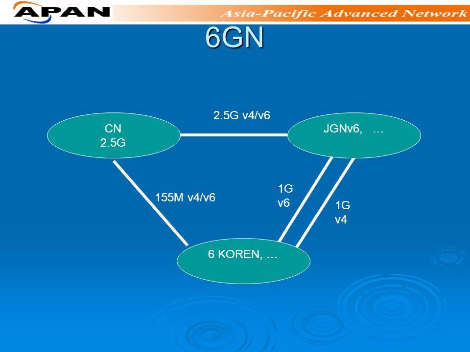 6GN 2.5G v4/v6 1G v4 1G v6 155M v4/v6 CN 2.5G JGNv6, … 6 KOREN, …