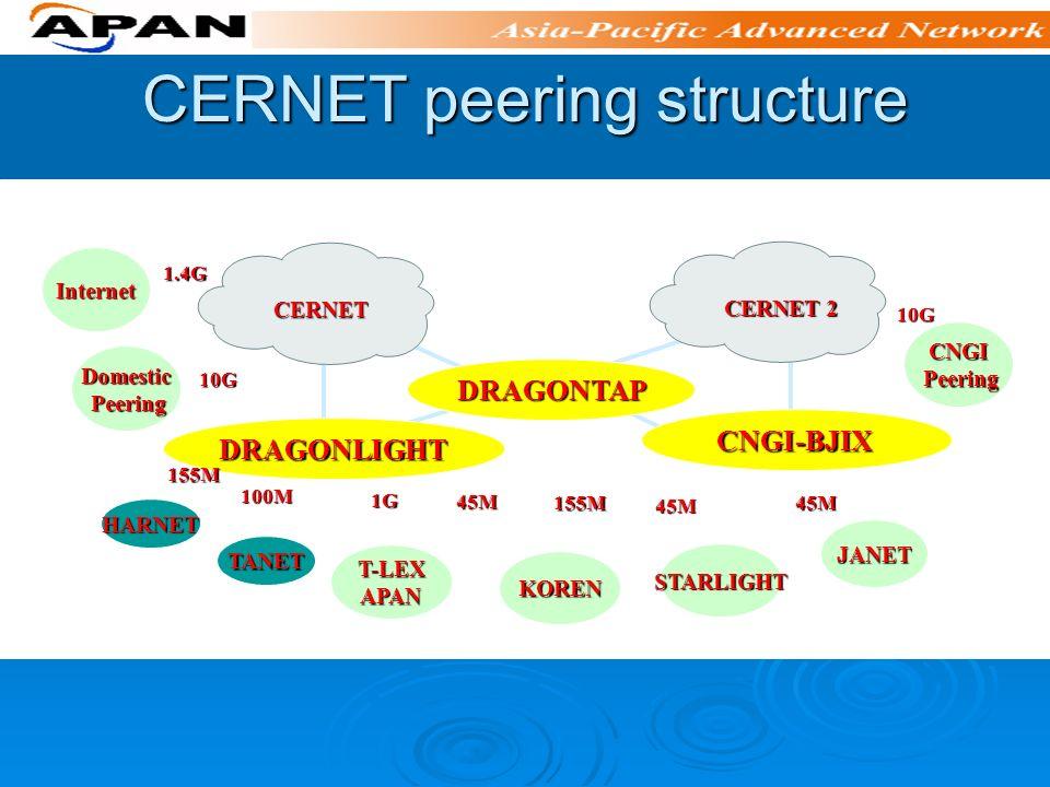 CERNET peering structure CERNET JANET STARLIGHT HARNET TANET DRAGONLIGHT CNGI-BJIX CNGI-BJIX DRAGONTAP CERNET 2 Internet Domestic Peering Peering CNGI T-LEXAPAN KOREN 1.4G 10G 155M 100M 1G 45M 155M 45M 45M 10G