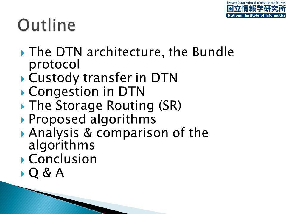 The DTN architecture, the Bundle protocol Custody transfer in DTN Congestion in DTN The Storage Routing (SR) Proposed algorithms Analysis & comparison