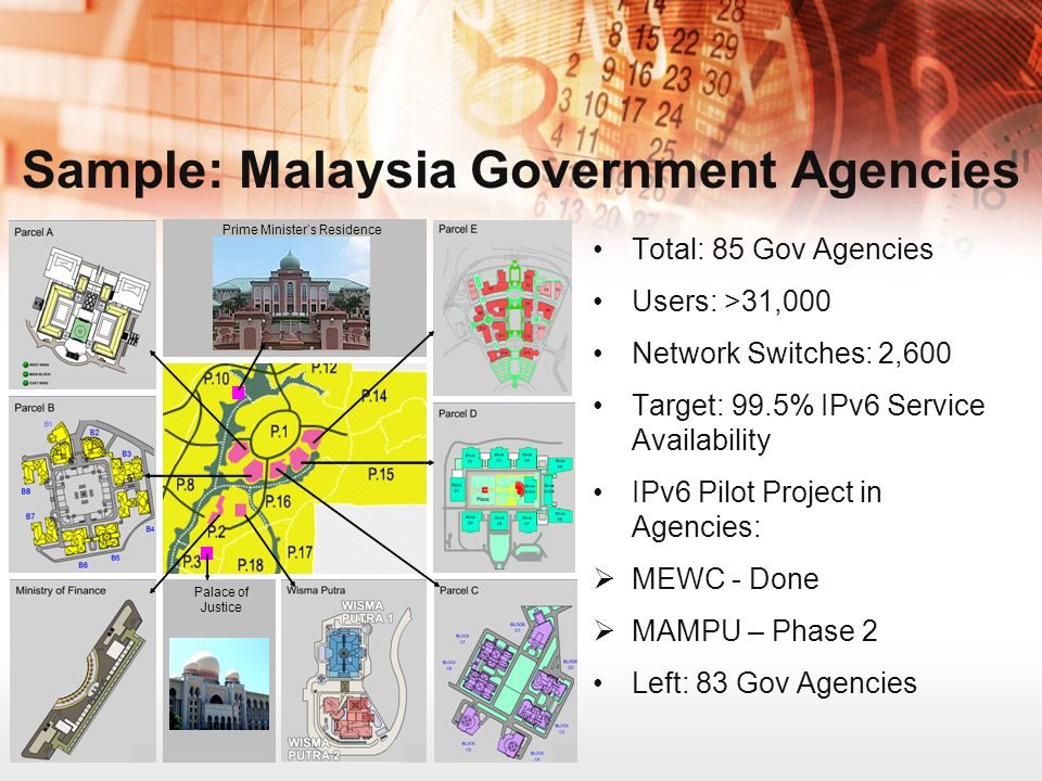 Sample: Malaysia Government Agencies Total: 85 Gov Agencies Users: >31,000 Network Switches: 2,600 Target: 99.5% IPv6 Service Availability IPv6 Pilot Project in Agencies: MEWC - Done MAMPU – Phase 2 Left: 83 Gov Agencies Prime Ministers Residence Palace of Justice