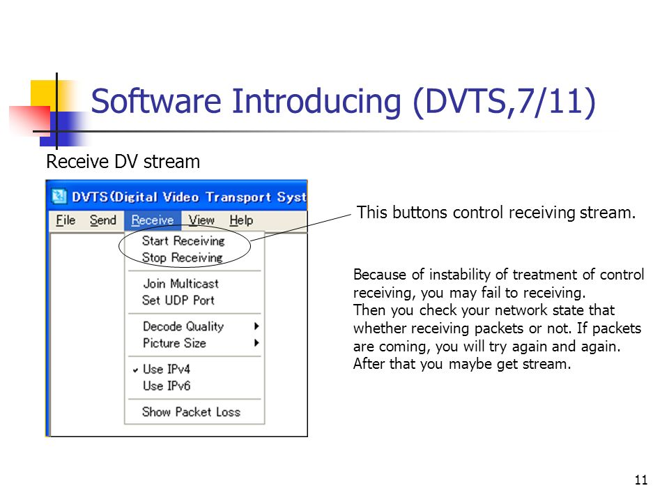 11 Software Introducing (DVTS,7/11) This buttons control receiving stream.
