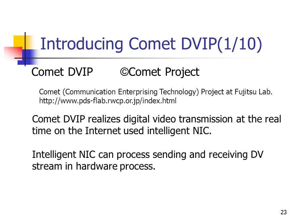 23 Introducing Comet DVIP(1/10) Comet DVIP © Comet Project Comet DVIP realizes digital video transmission at the real time on the Internet used intelligent NIC.