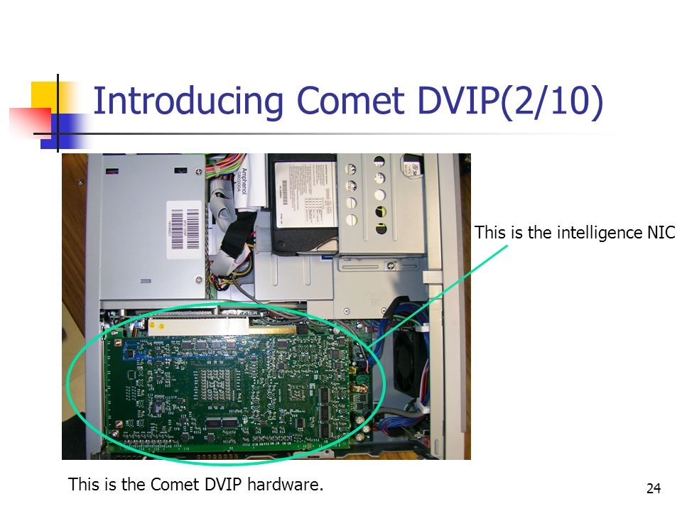 24 Introducing Comet DVIP(2/10) This is the Comet DVIP hardware. This is the intelligence NIC