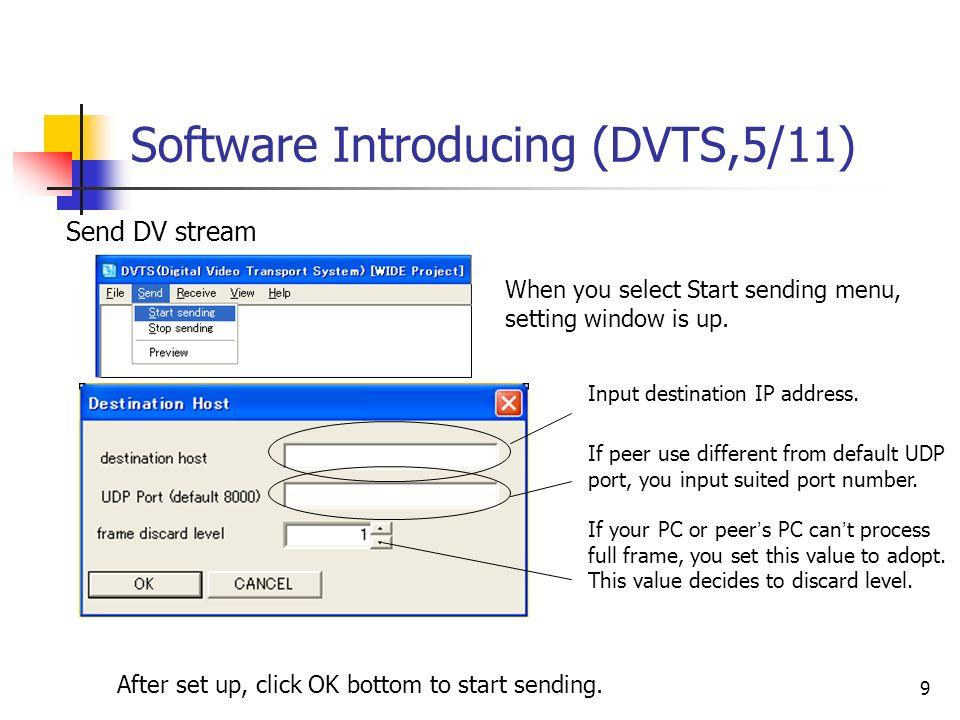 9 Software Introducing (DVTS,5/11) Input destination IP address. Send DV stream When you select Start sending menu, setting window is up. If peer use