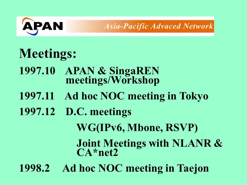 Meetings: 1997.10 APAN & SingaREN meetings/Workshop 1997.11 Ad hoc NOC meeting in Tokyo 1997.12 D.C. meetings WG(IPv6, Mbone, RSVP) Joint Meetings wit