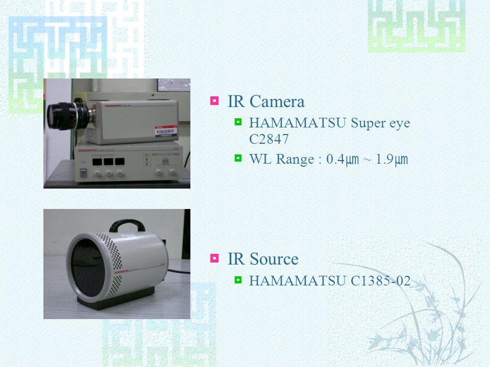 IR Camera HAMAMATSU Super eye C2847 WL Range : 0.4 ~ 1.9 IR Source HAMAMATSU C1385-02