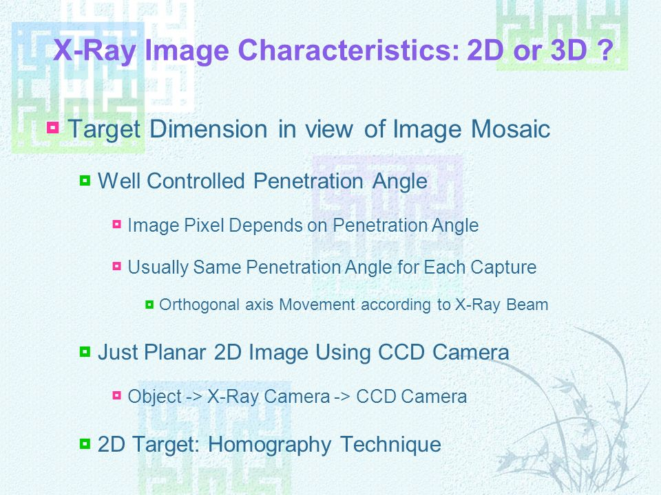 X-Ray Image Characteristics: 2D or 3D ? Target Dimension in view of Image Mosaic Well Controlled Penetration Angle Image Pixel Depends on Penetration