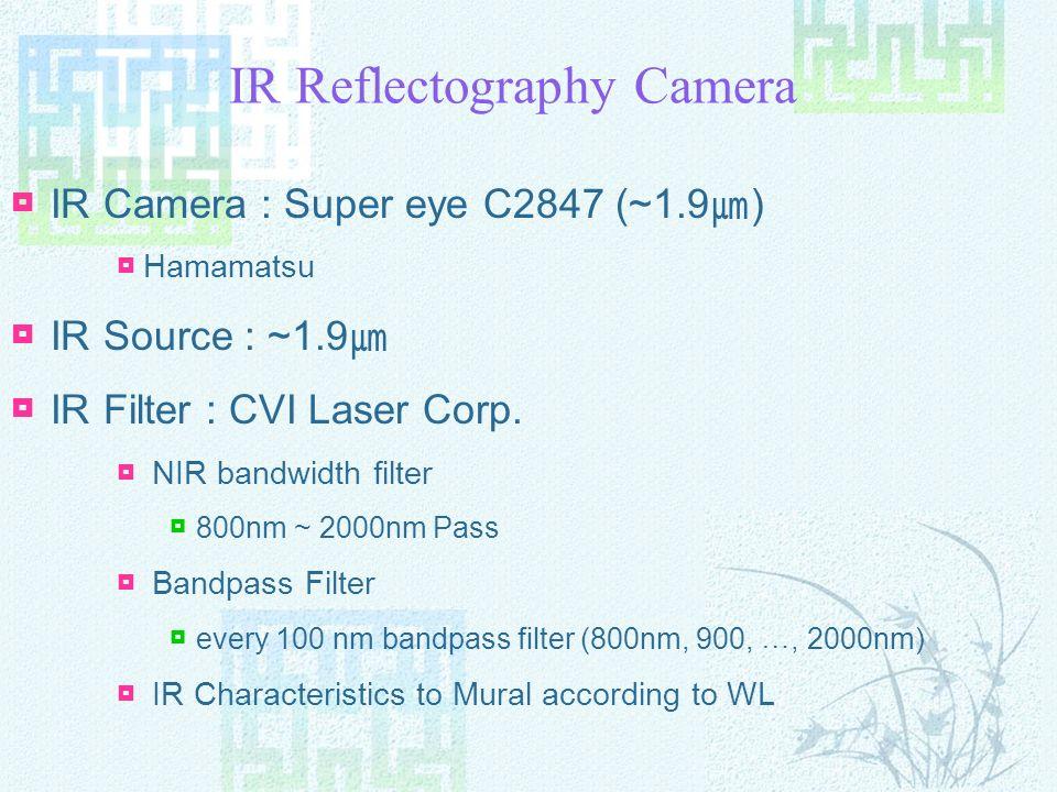 IR Reflectography Camera IR Camera : Super eye C2847 (~1.9 ) Hamamatsu IR Source : ~1.9 IR Filter : CVI Laser Corp.