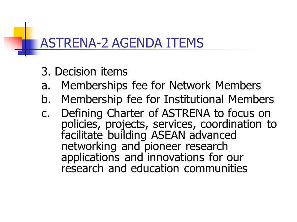 ASTRENA-2 AGENDA ITEMS 3. Decision items a.Memberships fee for Network Members b.Membership fee for Institutional Members c.Defining Charter of ASTREN