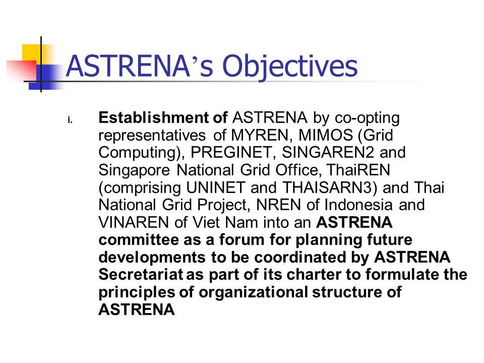 ASTRENA s Objectives i. Establishment of ASTRENA by co-opting representatives of MYREN, MIMOS (Grid Computing), PREGINET, SINGAREN2 and Singapore Nati