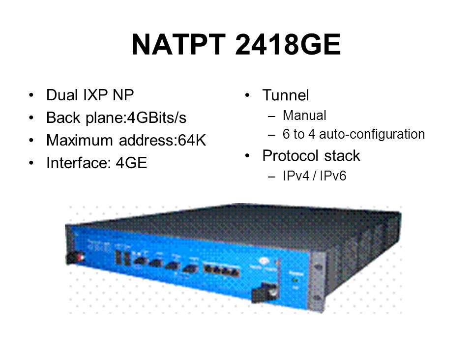 NATPT 2418GE Dual IXP NP Back plane:4GBits/s Maximum address:64K Interface: 4GE Tunnel –Manual –6 to 4 auto-configuration Protocol stack –IPv4 / IPv6