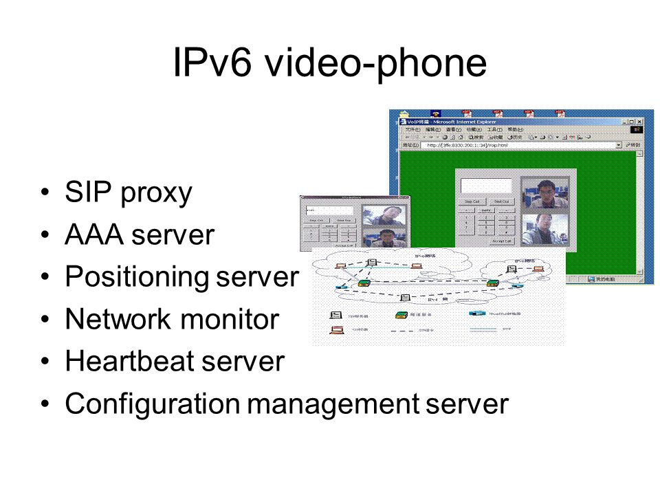 IPv6 video-phone SIP proxy AAA server Positioning server Network monitor Heartbeat server Configuration management server