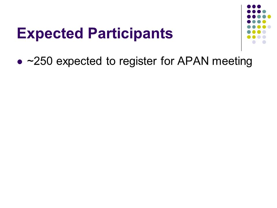 Expected Participants ~250 expected to register for APAN meeting