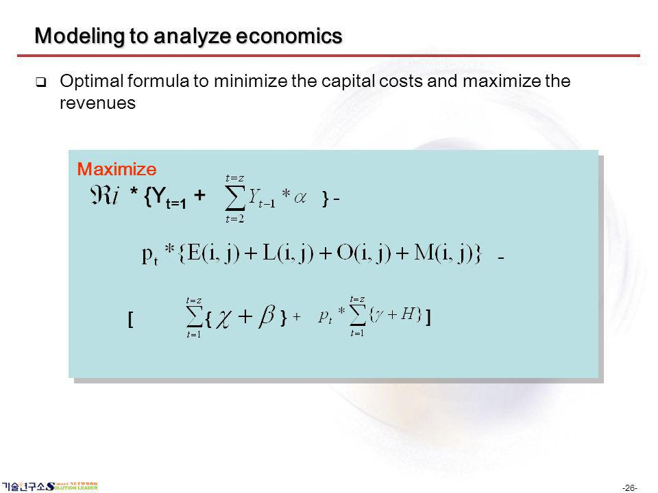 -26- Modeling to analyze economics Optimal formula to minimize the capital costs and maximize the revenues * {Y t=1 + } - + } { [ ] Maximize -