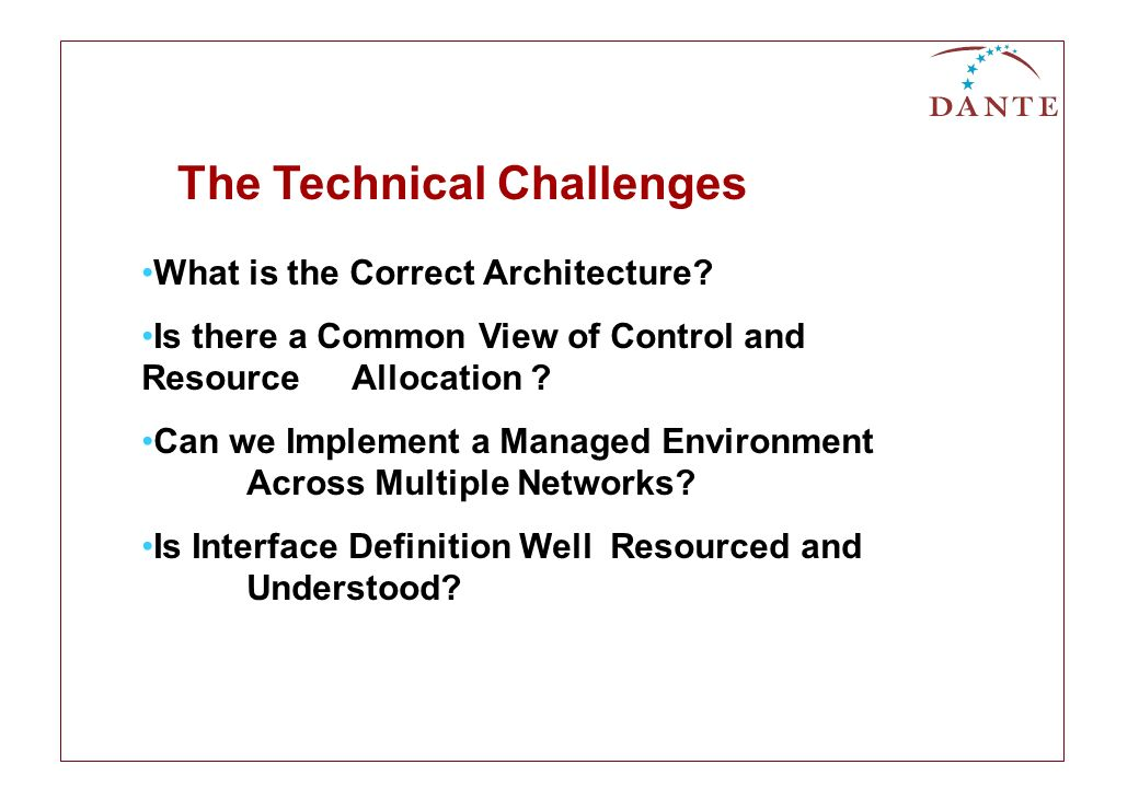 What is the Correct Architecture. Is there a Common View of Control and Resource Allocation .