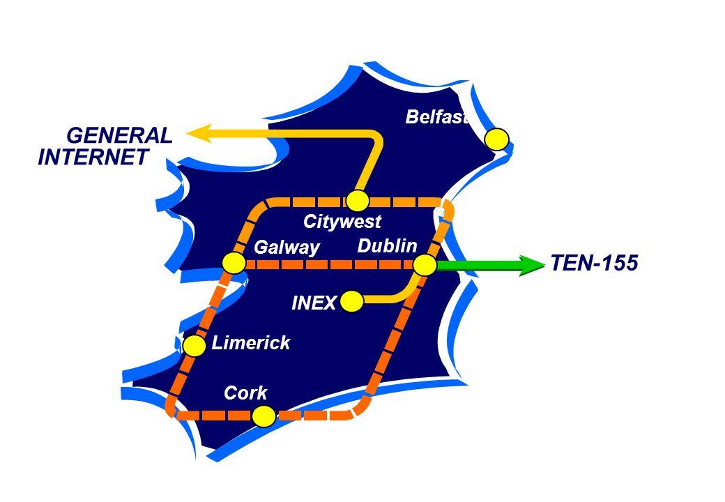 GENERAL INTERNET INEX Belfast Citywest Dublin Galway Limerick Cork TEN-155