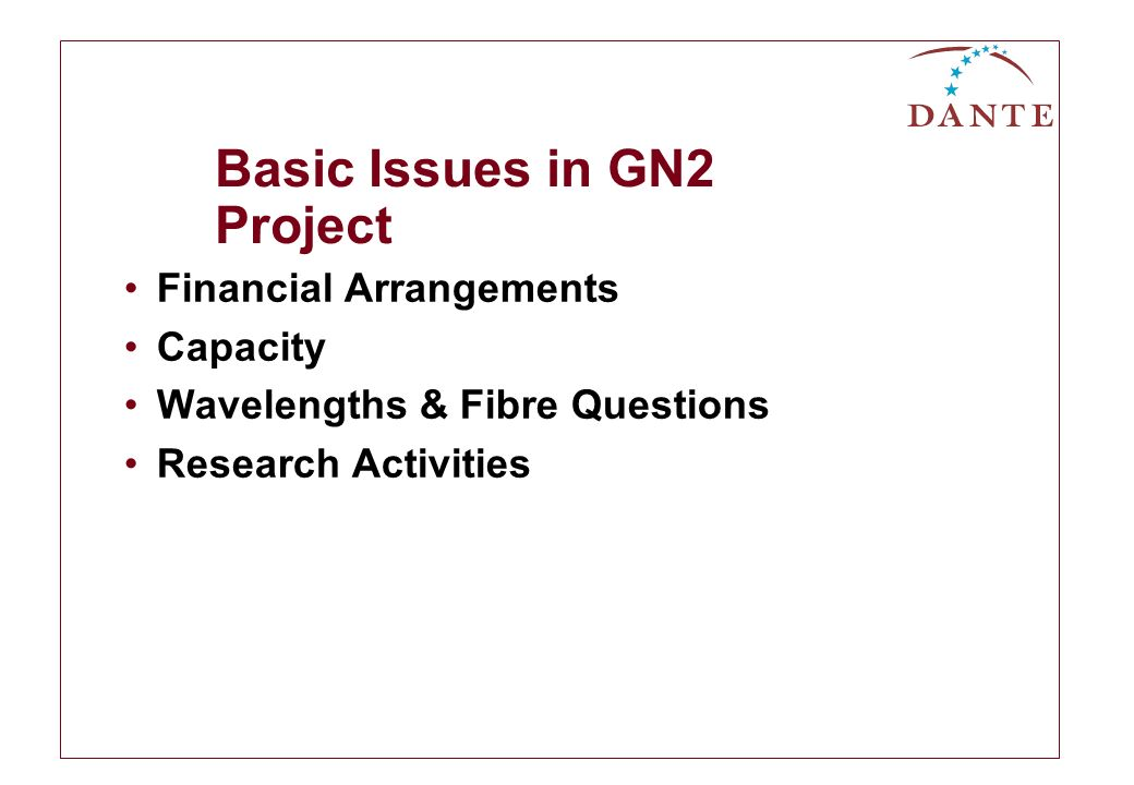 Basic Issues in GN2 Project Financial Arrangements Capacity Wavelengths & Fibre Questions Research Activities
