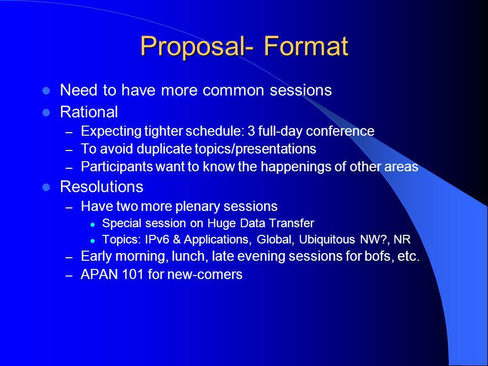 Proposal- Format Need to have more common sessions Rational – Expecting tighter schedule: 3 full-day conference – To avoid duplicate topics/presentations – Participants want to know the happenings of other areas Resolutions – Have two more plenary sessions Special session on Huge Data Transfer Topics: IPv6 & Applications, Global, Ubiquitous NW , NR – Early morning, lunch, late evening sessions for bofs, etc.