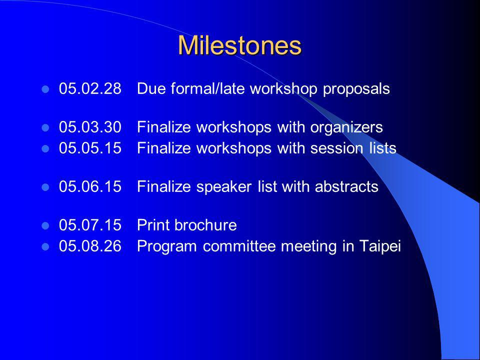 Milestones 05.02.28Due formal/late workshop proposals 05.03.30Finalize workshops with organizers 05.05.15Finalize workshops with session lists 05.06.15Finalize speaker list with abstracts 05.07.15Print brochure 05.08.26Program committee meeting in Taipei
