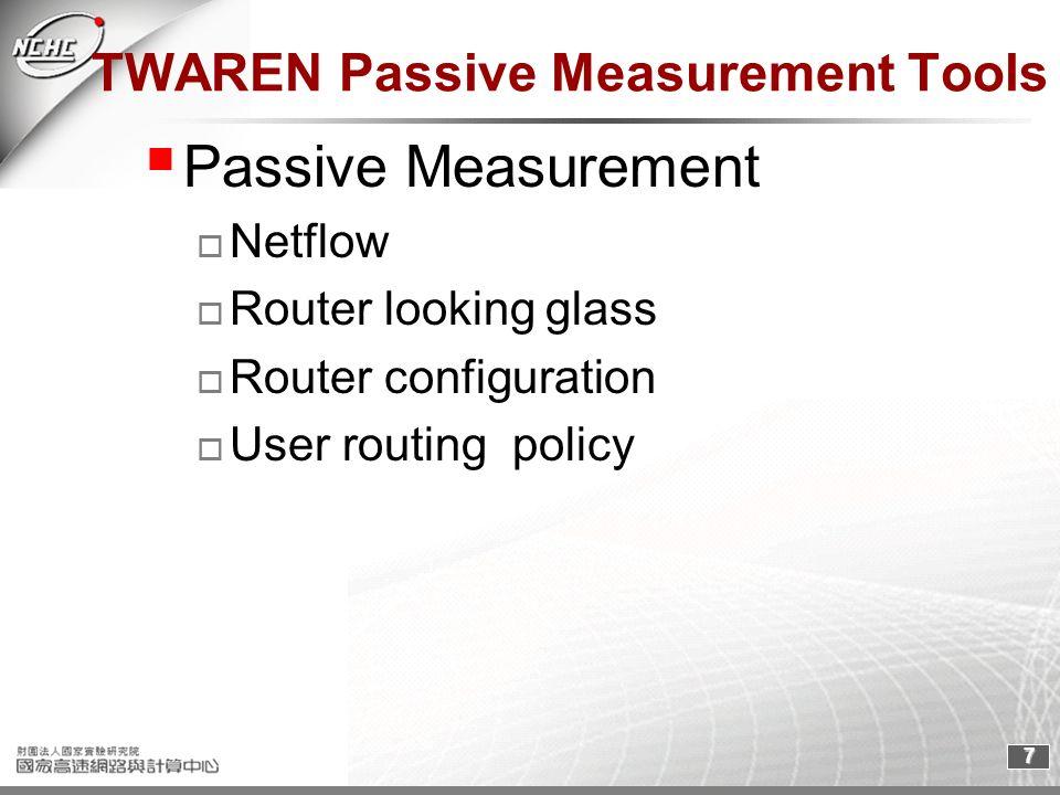 7 TWAREN Passive Measurement Tools Passive Measurement Netflow Router looking glass Router configuration User routing policy