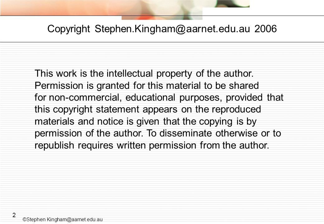 2 This work is the intellectual property of the author.