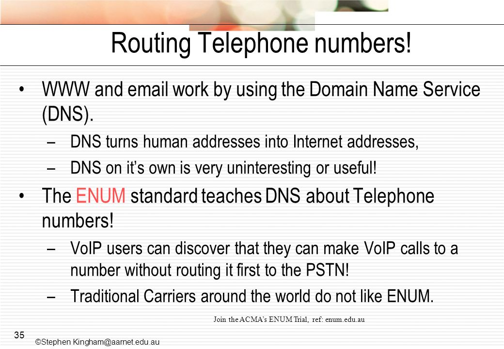 35 Routing Telephone numbers.WWW and email work by using the Domain Name Service (DNS).