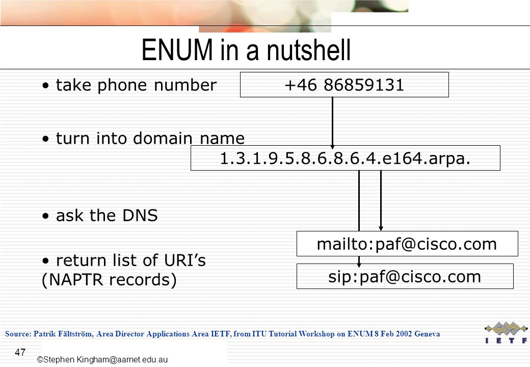 47 ENUM in a nutshell take phone number +46 86859131 turn into domain name 1.3.1.9.5.8.6.8.6.4.e164.arpa.