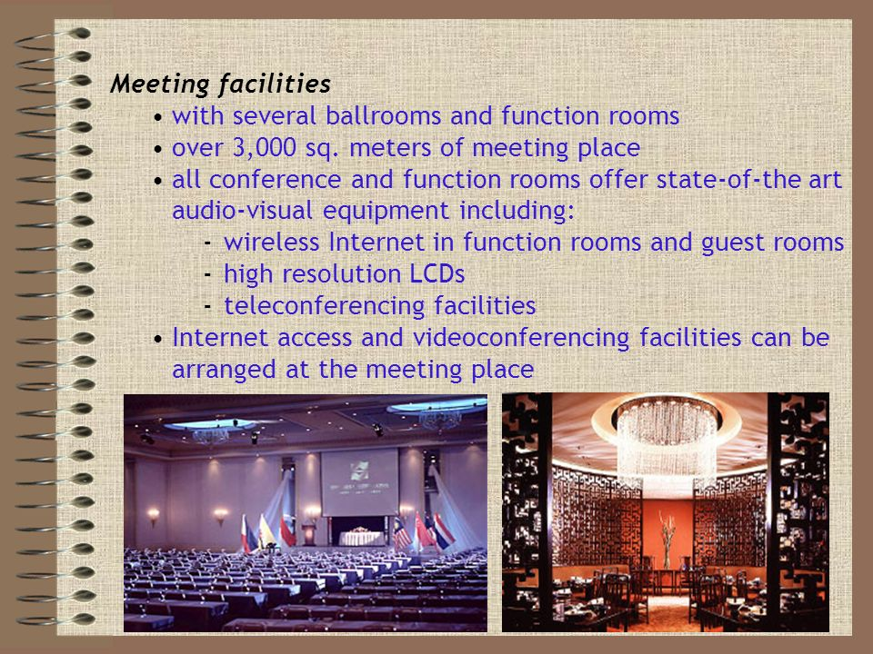 Meeting facilities with several ballrooms and function rooms over 3,000 sq.