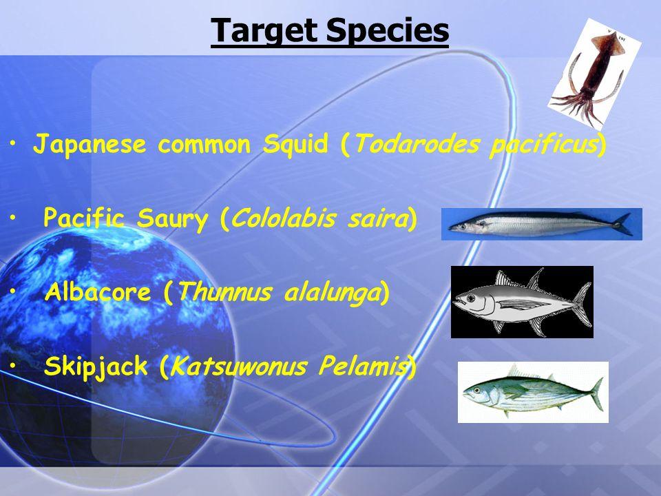 Target Species Japanese common Squid (Todarodes pacificus) Pacific Saury (Cololabis saira) Albacore (Thunnus alalunga) Skipjack (Katsuwonus Pelamis)