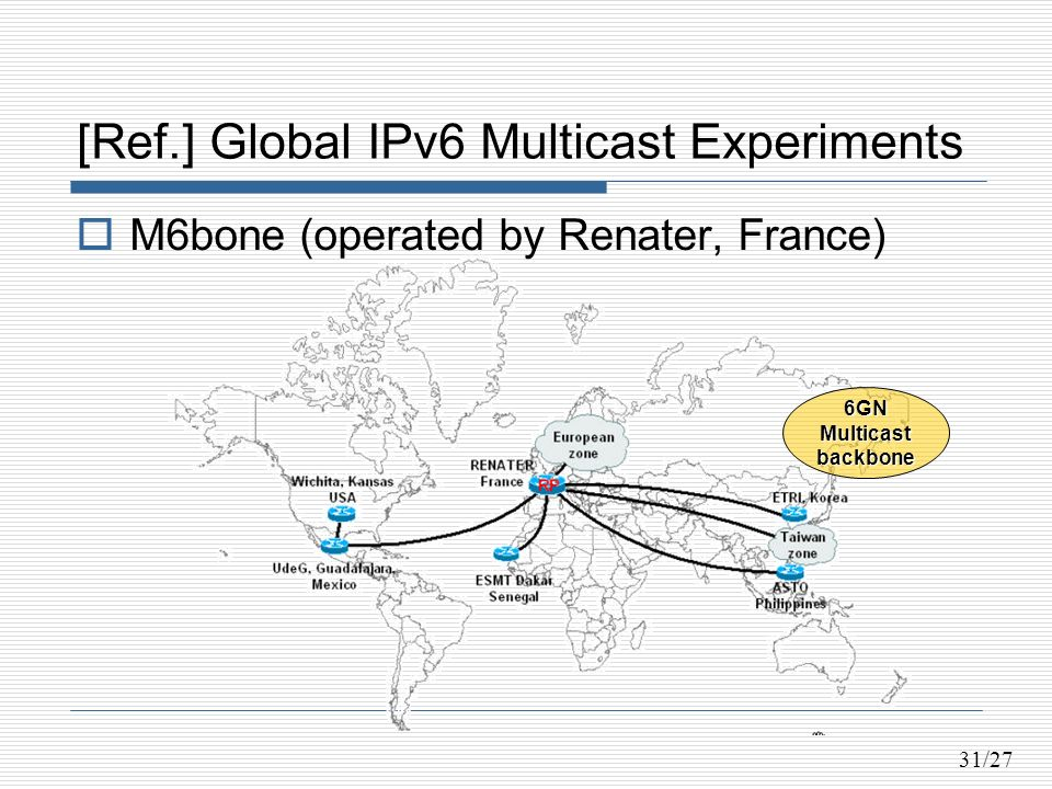 31/27 [Ref.] Global IPv6 Multicast Experiments M6bone (operated by Renater, France) 6GNMulticastbackbone