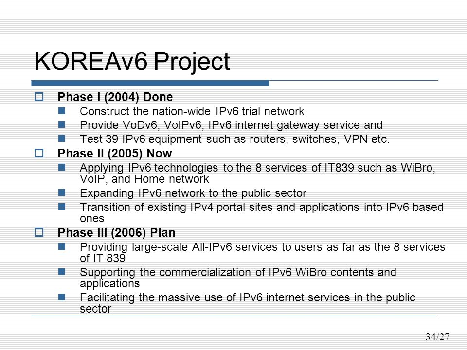 34/27 KOREAv6 Project Phase I (2004) Done Construct the nation-wide IPv6 trial network Provide VoDv6, VoIPv6, IPv6 internet gateway service and Test 39 IPv6 equipment such as routers, switches, VPN etc.