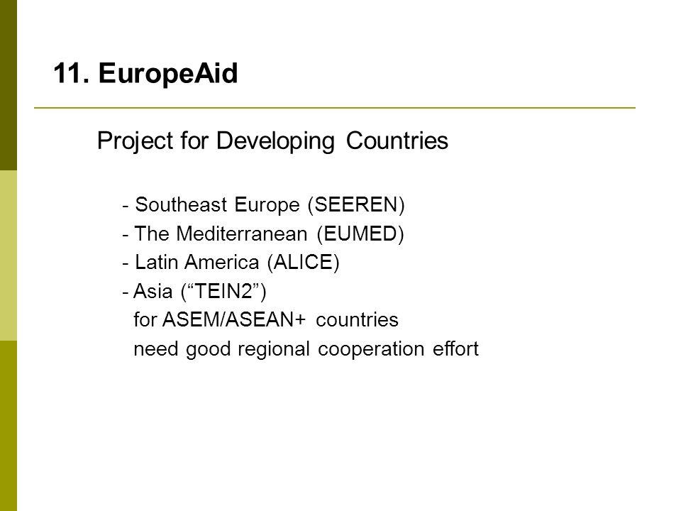 11. EuropeAid - Southeast Europe (SEEREN) - The Mediterranean (EUMED) - Latin America (ALICE) - Asia (TEIN2) for ASEM/ASEAN+ countries need good regio