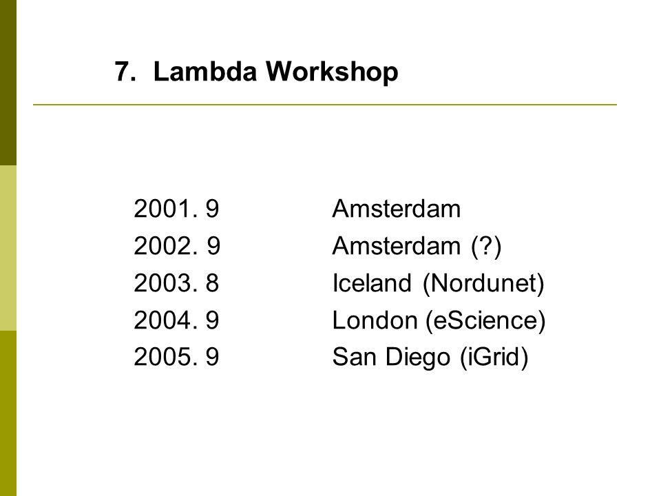 7. Lambda Workshop 2001. 9Amsterdam 2002. 9Amsterdam (?) 2003. 8Iceland (Nordunet) 2004. 9London (eScience) 2005. 9San Diego (iGrid)