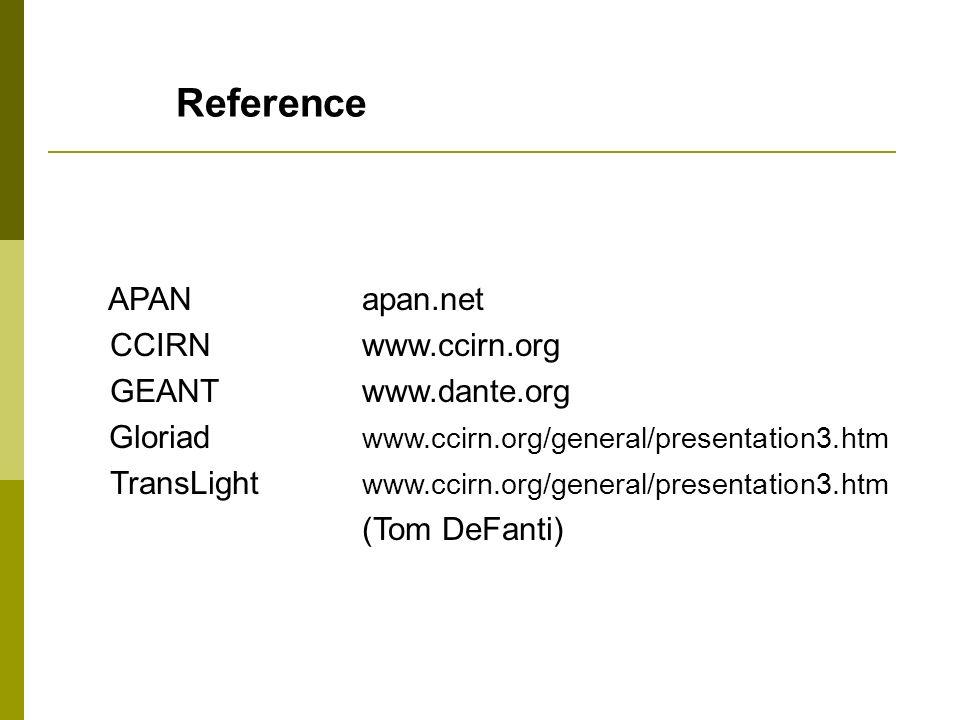 Reference APANapan.net CCIRNwww.ccirn.org GEANTwww.dante.org Gloriad www.ccirn.org/general/presentation3.htm TransLight www.ccirn.org/general/presenta