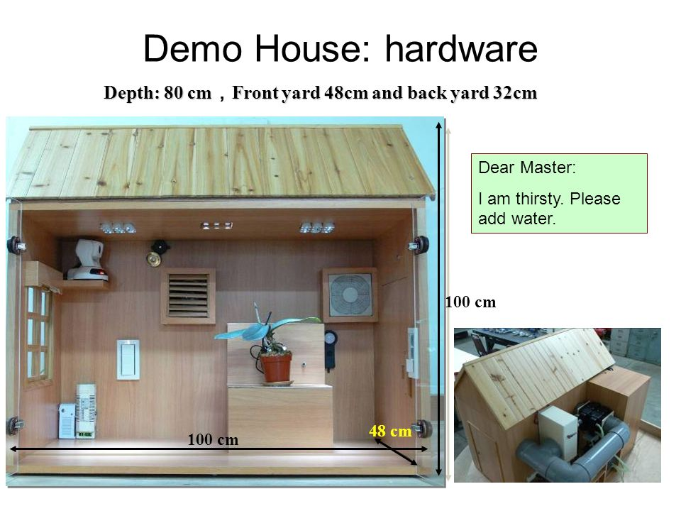Depth: 80 cm Front yard 48cm and back yard 32cm 100 cm 48 cm Demo House: hardware Dear Master: I am thirsty.